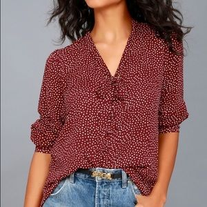 On the Spot Burgundy Polka Dot Button-Up Top XS
